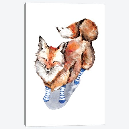 Smiling Red Fox In Blue Socks Canvas Print #GSI59} by Goosi Canvas Artwork
