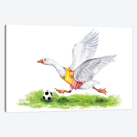 Soccer Goose Running With A Soccer Ball Canvas Print #GSI63} by Goosi Canvas Print