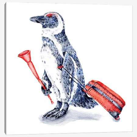 South African Penguin With Red Suitcase And Vuvuzela Canvas Print #GSI65} by Goosi Canvas Art