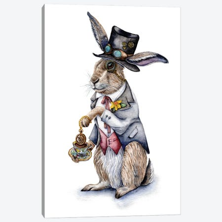 Steampunk March Hare Canvas Print #GSI66} by Goosi Canvas Wall Art