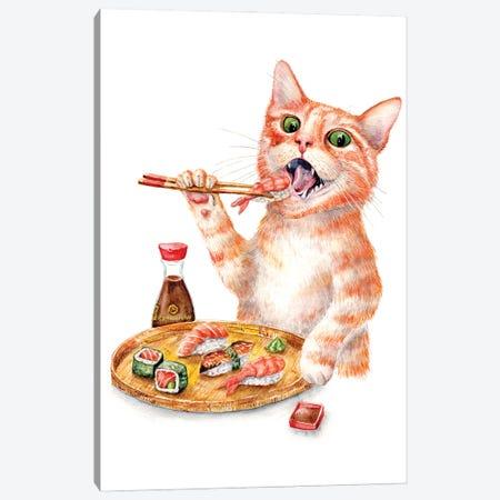 Sushi Cat Canvas Print #GSI68} by Goosi Art Print