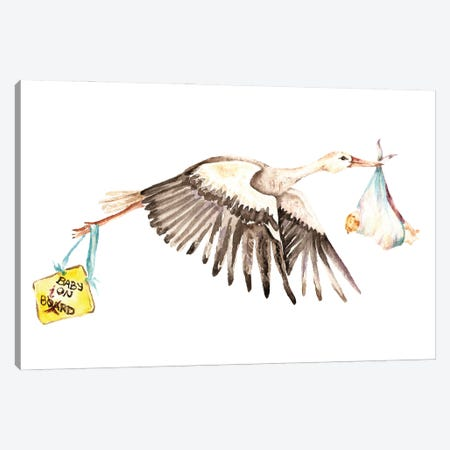 Baby On White Stork Bird With A Baby-On-Board Sign Canvas Print #GSI6} by Goosi Canvas Art Print