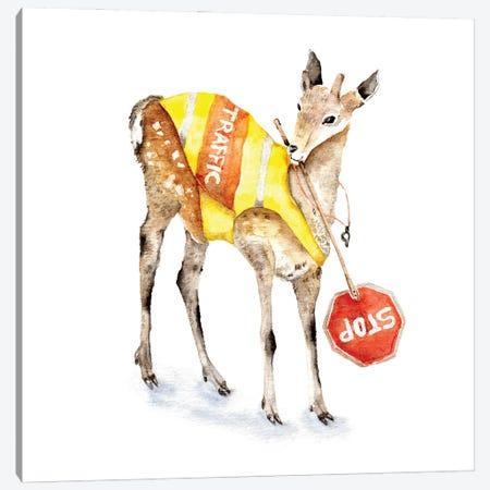 Traffic Controller Deer Canvas Print #GSI70} by Goosi Canvas Artwork