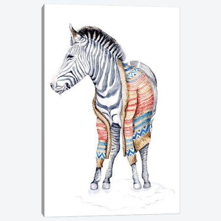 Zebra In A Sweater Canvas Print #GSI78} by Goosi Canvas Art