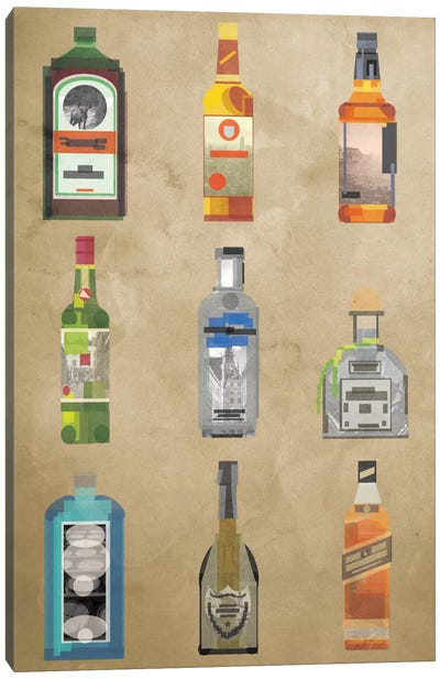 Liquor Bottles Canvas Print #GSP14