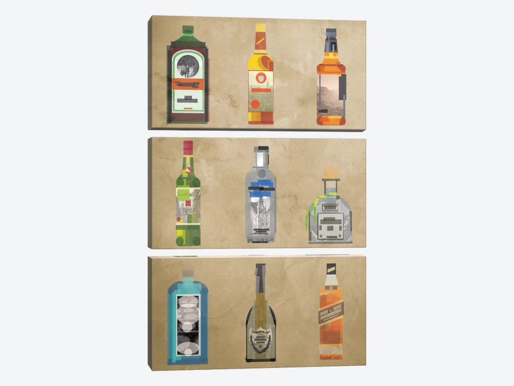 Liquor Bottles by 5by5collective 3-piece Art Print