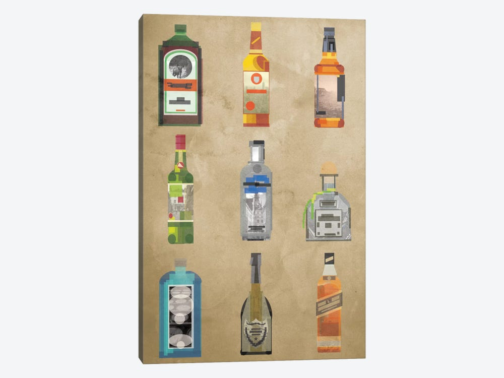 Liquor Bottles by 5by5collective 1-piece Canvas Print