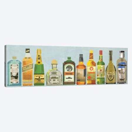 Liquor Bottles Pano Canvas Print #GSP15} by 5by5collective Canvas Artwork