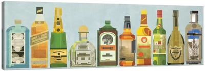 Liquor Bottles Pano Canvas Art Print