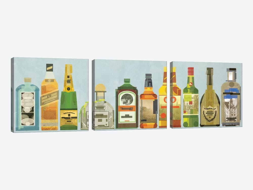 Liquor Bottles Pano by 5by5collective 3-piece Canvas Wall Art