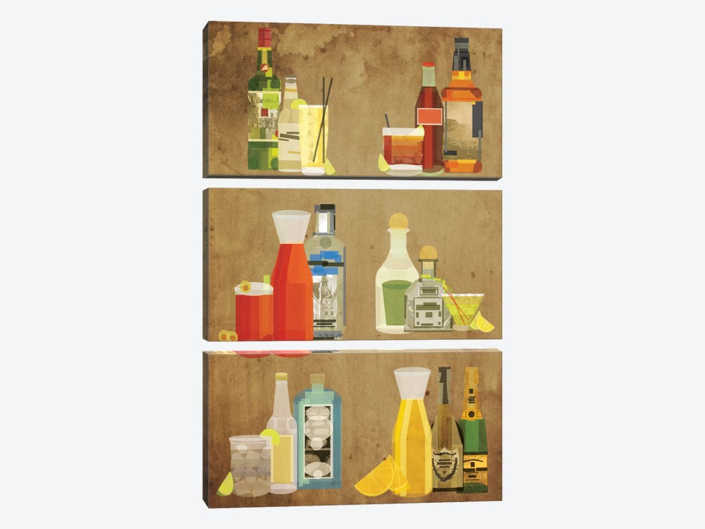 Classic Cocktails by 5by5collective 3-piece Canvas Art Print