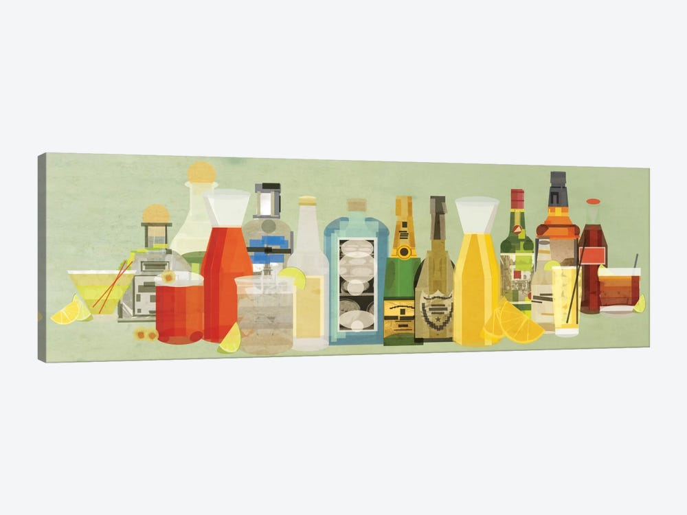 Classic Cocktails Pano by 5by5collective 1-piece Canvas Wall Art