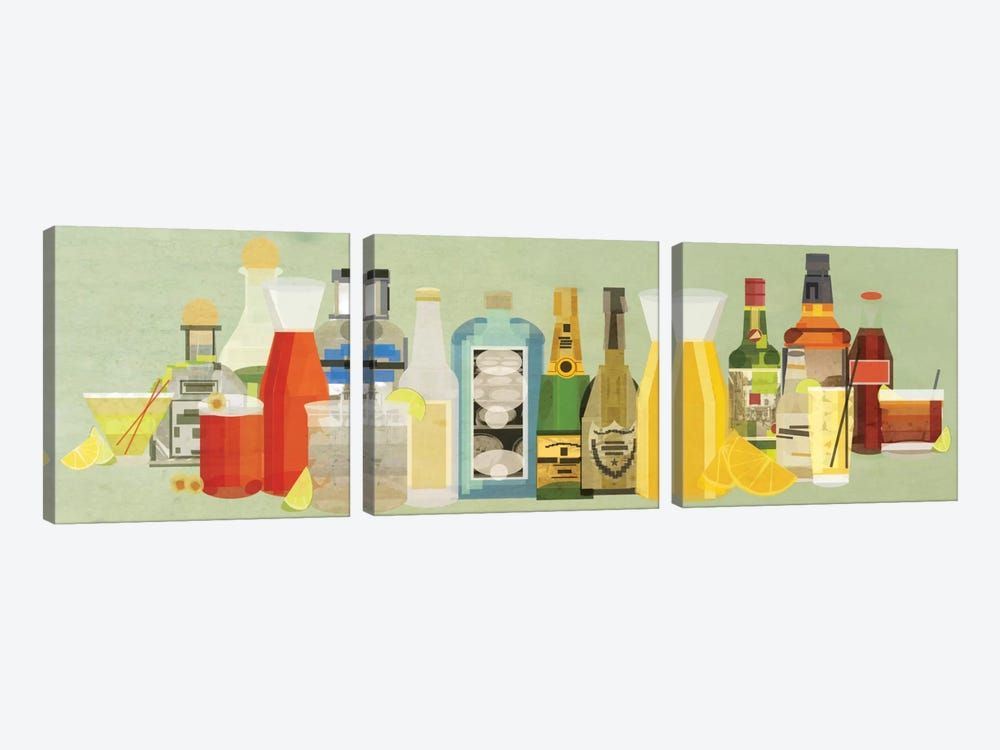 Classic Cocktails Pano by 5by5collective 3-piece Canvas Artwork