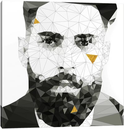 Geo Beard in Black and White Canvas Art Print