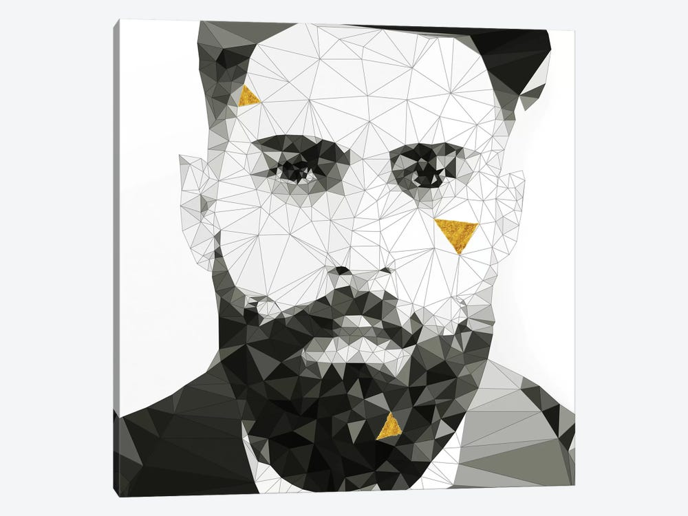 Geo Beard In Black And White by 5by5collective 1-piece Canvas Art
