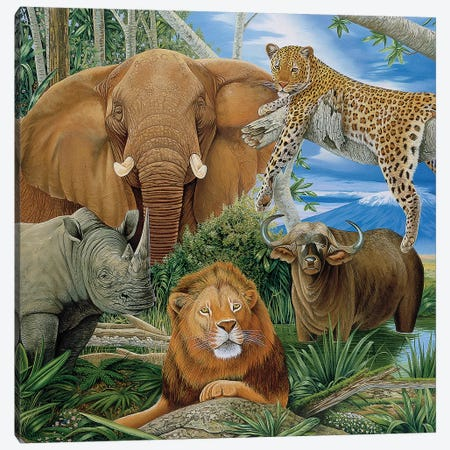 Big Five 3-Piece Canvas #GST125} by Graeme Stevenson Canvas Print