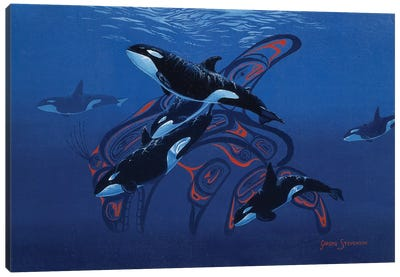 Blue Orcas Canvas Art Print