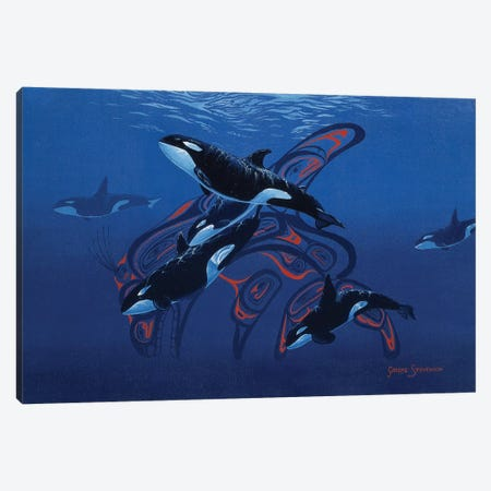 Blue Orcas Canvas Print #GST131} by Graeme Stevenson Canvas Art Print