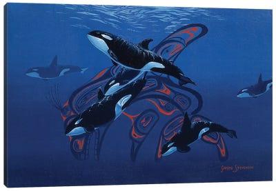 Blue Orcas Canvas Art Print