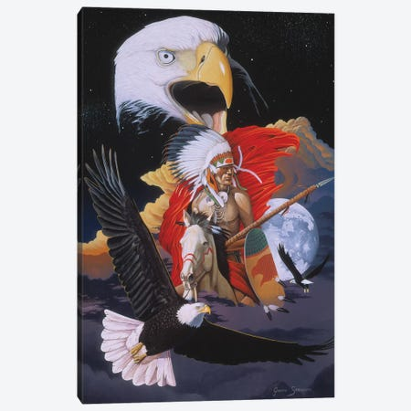 Eagle Warrior Canvas Print #GST160} by Graeme Stevenson Canvas Artwork