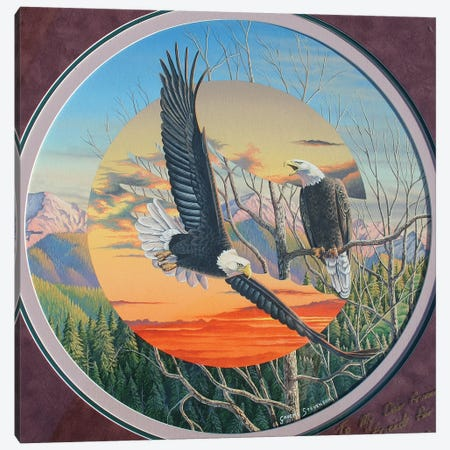 Eagles 3-Piece Canvas #GST161} by Graeme Stevenson Canvas Art