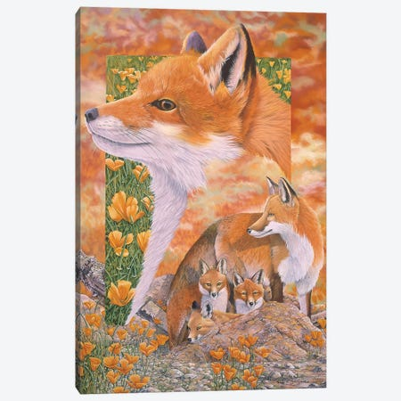 Foxes Canvas Print #GST175} by Graeme Stevenson Canvas Wall Art