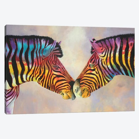 Spectrum Zebras Large Canvas Print #GST256} by Graeme Stevenson Art Print
