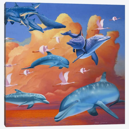 Dolphins Clouds Canvas Print #GST77} by Graeme Stevenson Canvas Artwork