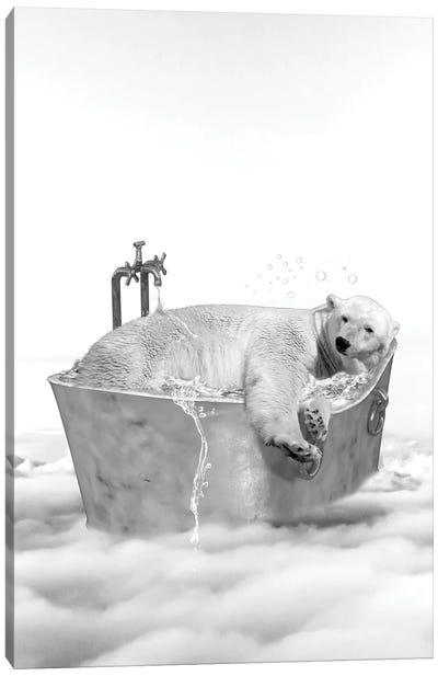 Polar Bear Bath Canvas Art Print