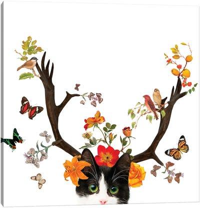 Cat Horns Canvas Art Print