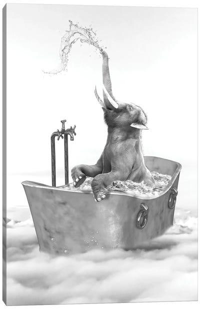 Elephant Bath Canvas Art Print