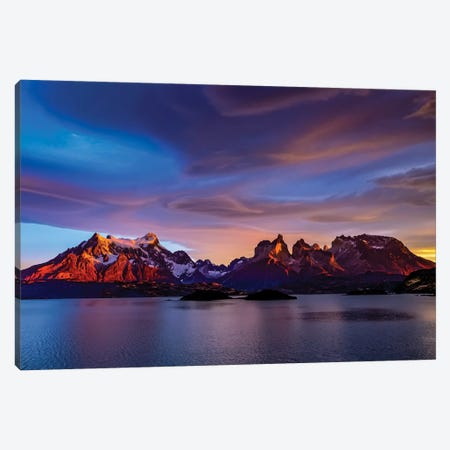Chile, Torres de Paine, lenticular clouds Canvas Print #GTH12} by George Theodore Canvas Artwork
