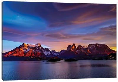 Chile, Torres de Paine, lenticular clouds Canvas Art Print