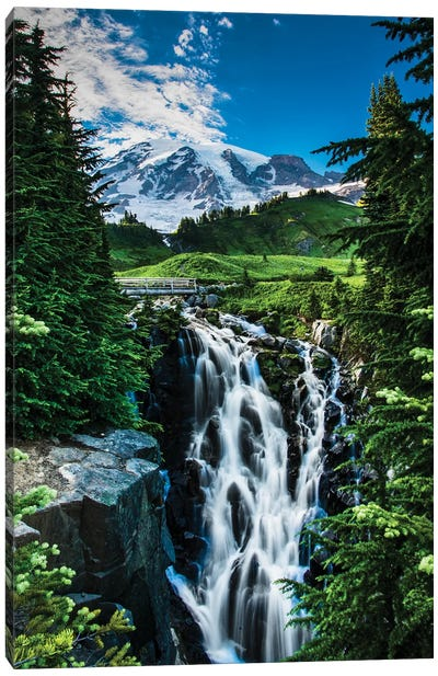 USA, Washington State, Mount Rainier National Park, Mount Rainier, waterfall Canvas Art Print