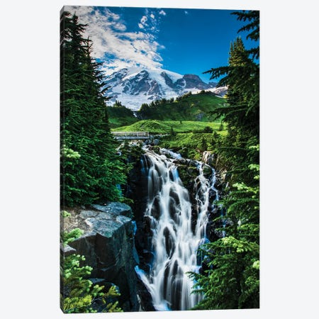 USA, Washington State, Mount Rainier National Park, Mount Rainier, waterfall Canvas Print #GTH25} by George Theodore Canvas Art