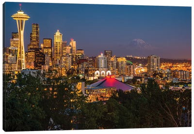 USA, Washington State. Seattle, Night Scene, Mount Rainier, Canvas Art Print