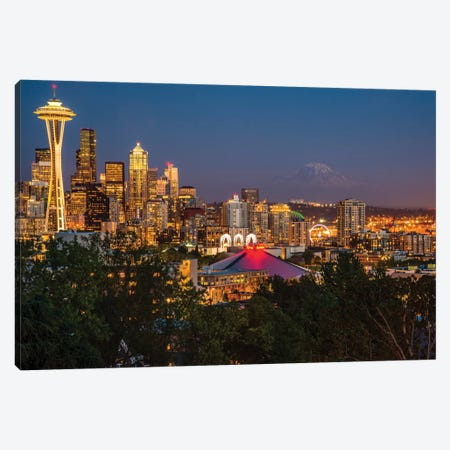 USA, Washington State. Seattle, Night Scene, Mount Rainier, Canvas Print #GTH26} by George Theodore Canvas Wall Art
