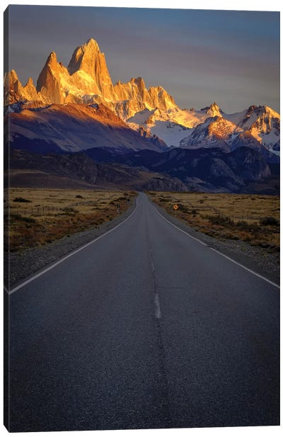 Argentina, Patagonia. Fitz Roy, Highway Canvas Art Print
