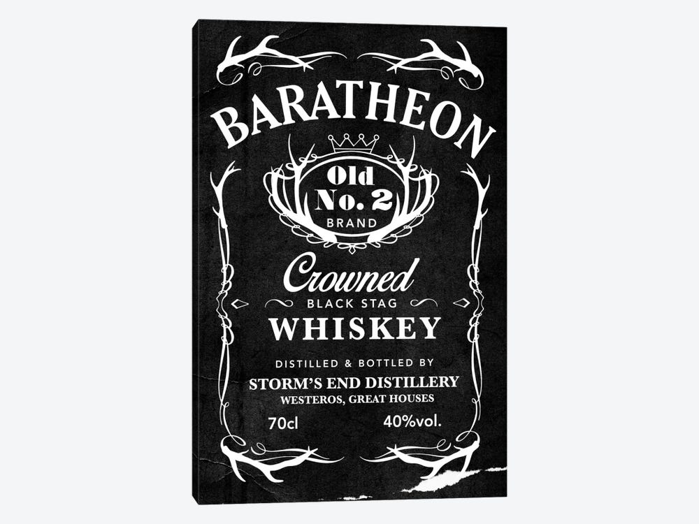 Baratheon Black Stag Whiskey by 5by5collective 1-piece Canvas Wall Art