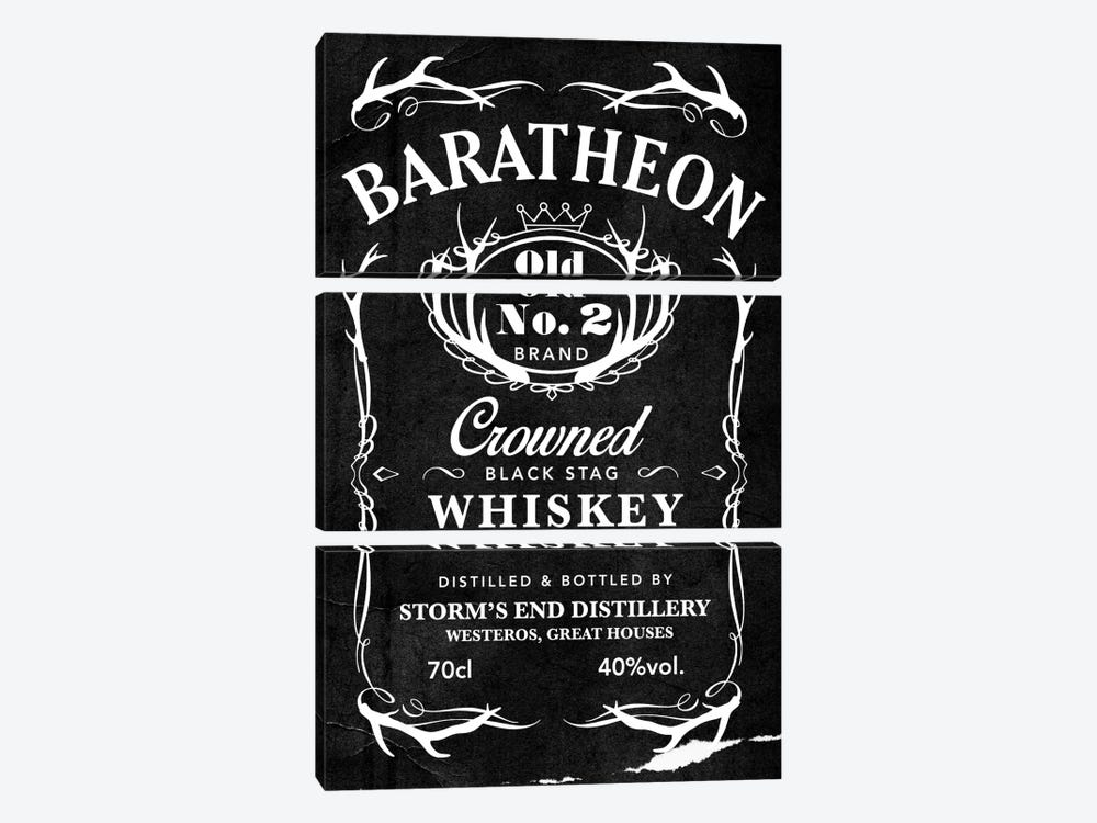 Baratheon Black Stag Whiskey by 5by5collective 3-piece Canvas Art