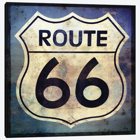 Route 66 Sign Canvas Print #GTS23} by Graffi*Tee Studios Canvas Artwork