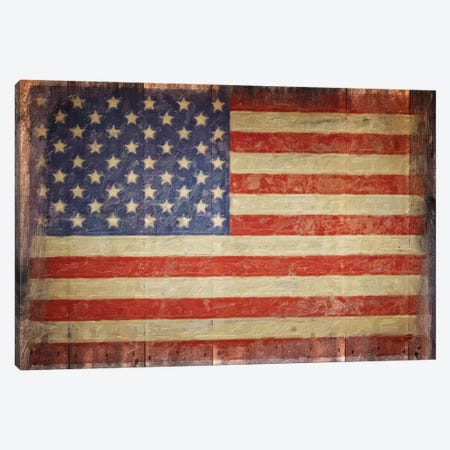 Vintage Flag On Barnwood Canvas Print #GTS25} by Graffi*Tee Studios Art Print