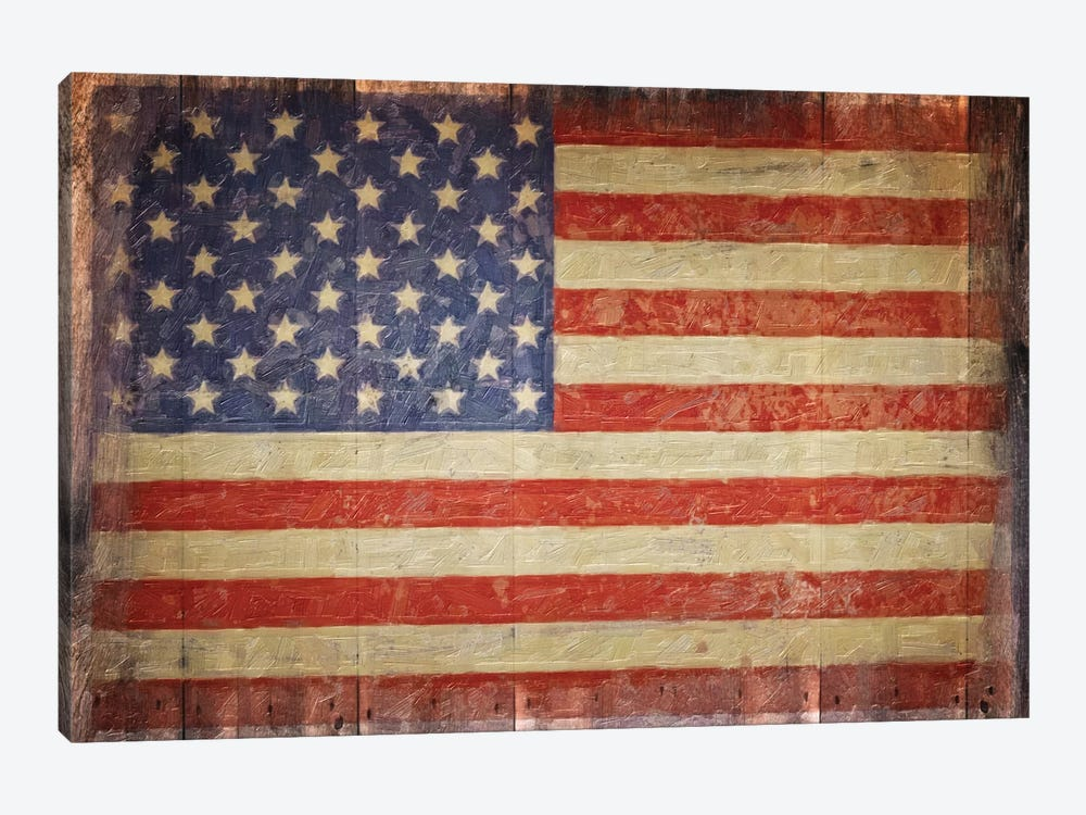 Vintage Flag On Barnwood by Graffi*Tee Studios 1-piece Canvas Art Print