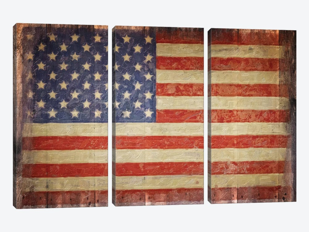Vintage Flag On Barnwood by Graffi*Tee Studios 3-piece Canvas Art Print