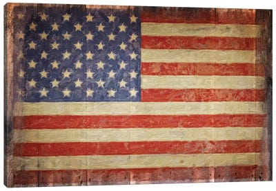 Vintage Flag On Barnwood Canvas Art Print