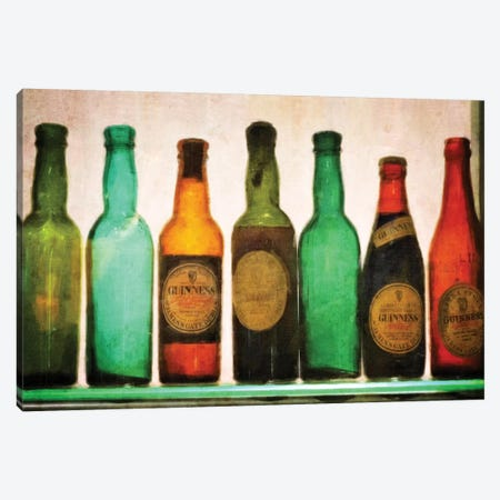Vintage Guiness Bottles Canvas Print #GTS26} by Graffi*Tee Studios Canvas Art Print