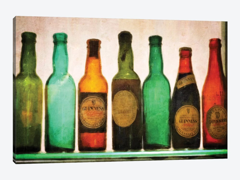 Vintage Guiness Bottles by Graffi*Tee Studios 1-piece Canvas Art