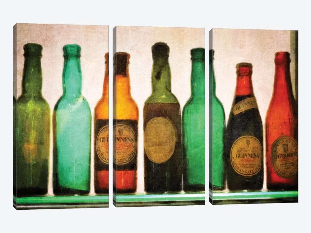 Vintage Guiness Bottles by Graffi*Tee Studios 3-piece Canvas Artwork