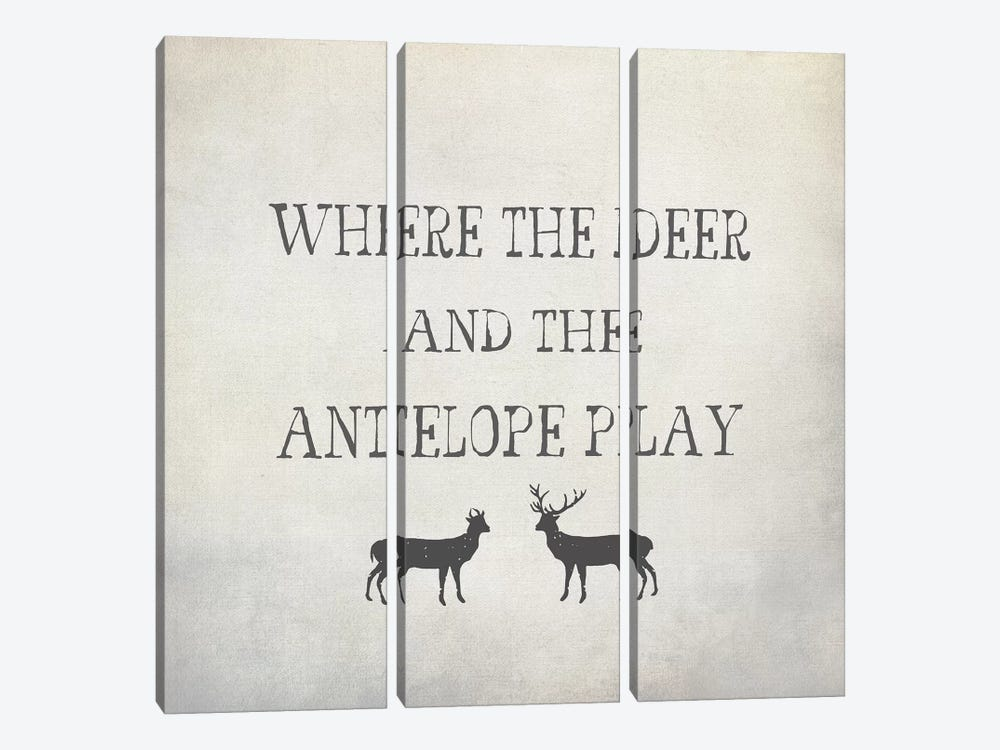 Where The Deer & Antelope by Graffi*Tee Studios 3-piece Canvas Print