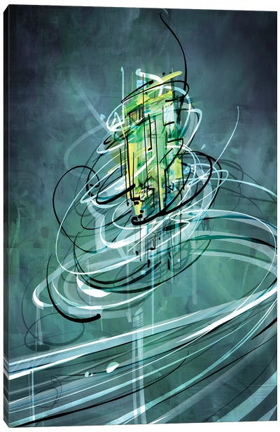 Emerald Vortex Canvas Art Print